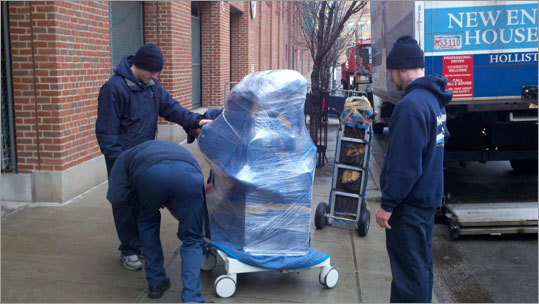 The movers were extra careful with an X-ray machine that was part of the pack going to Fort Myers, Fla.