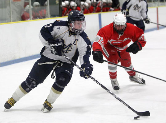 Malden Catholic's Brendan Collier, left, has helped spur the revival of Charlestown hockey. This despite a lack of a hockey team in Charlestown.