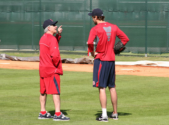 Red Sox manager Bobby Valentine (left) talked to big lefty Andrew Miller at the team's spring training complex.