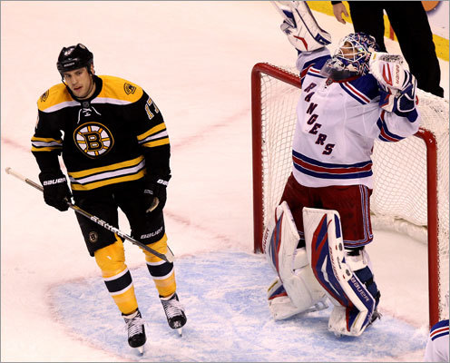 New York Rangers goalie Henrik Lundqvist celebrated as Bruins wing Milan Lucic skated off the ice after the Rangers defeated the Bruins 3-0 at TD Garden in a showdown of the Eastern Conference's top teams. New York won for the second time in as many meetings this season.