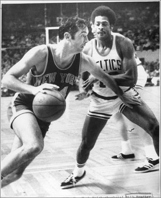 Bill Bradley: A three-term U.S. Senator from New Jersey after his retirement, Bradley was a gold-medal winning Olympian (1964) and Rhodes Scholar before joining the Knicks in 1967. The Knicks won their only two NBA titles (1970-72) with Bradley, a Princeton grad, at forward. Of course he had a little help from Walt Frazier, Willis Reed and Dave DeBusschere. The Pro Basketball Hall of Famer scored 9,217 points in 742 NBA games (12.4 PPG). Among athletic Ivy Leaguers, he joins Ted Kennedy (Harvard freshman football), George H.W. Bush (Yale baseball) and George W. Bush (Yale cheerleader) who later went pro in Washington.