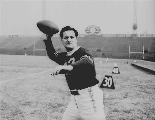 Sid Luckman: Long before Ryan Fitzpatrick carried the flag for Ivy League QBs in the NFL, Luckman was tearing up the nation with the Chicago Bears via their T-formation. The Columbia tailback struggled at QB at first, but made a huge impact on the NFL with the Bears' 73-0 win over Washington in the 1940 title game. The Bears won four NFL titles in his 12 seasons. Luckman was league MVP in 1943 and he hit for seven TD passes vs. the Giants in a 56-7 rout. That's two more TDs than Big 10 product Tom Brady has thrown in his past three games against the Giants.