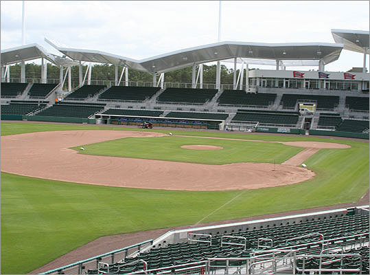 The stands at the team's new spring training complex were waiting for fans just hours before pitchers and catcher were due to arrive.