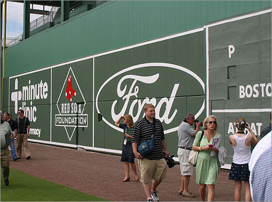 Fans walked past the Green Monster on a tour of JetBlue Park.