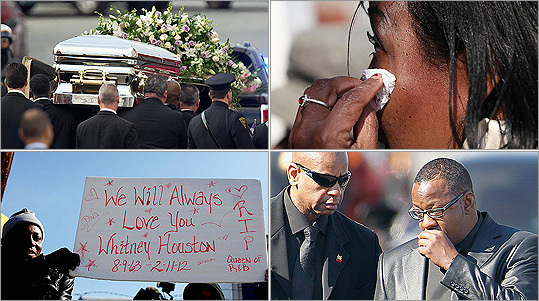 Crowds gathered from around the country to honor the late star Whitney Houston. The funeral services were held at the New Hope Baptist Church in Newark, N.J., on Feb. 18.