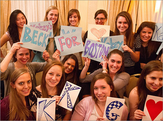 Volleyball teammates, sorority sisters, and roommates of Kelsey Beck showed their support for the new Miss Boston 2012.