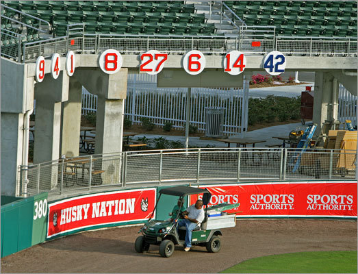 Just like at Fenway Park, the Red Sox' retired numbers adorn the right-field corner, alongside the 42 of Jackie Robinson, which has been retired by Major League Baseball (the Yankees' Mariano Rivera is allowed to wear it until he is finished playing because he wore it before the number was retired in 1997).