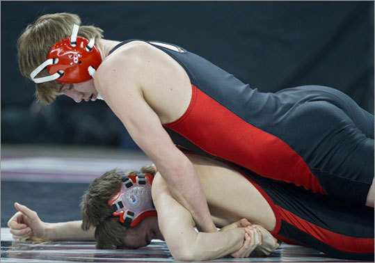 North Andover's Fritz Hoehn controlled Winchester's Doug MacDonald in the 138-pound match at the MIAA Division 2 state wrestling championships at Tsongas Arena on Monday February 20, 2012. Monseir won the match.
