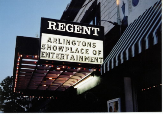 'We're just far out enough that we're not the city, but people in Boston, Cambridge and Somerville do have so much to choose from,' said Stein. 'But we can price things modestly, offer free parking and dinner show packages, offer an experience comparable to Boston.' The Regent Theatre at dusk in 2002.