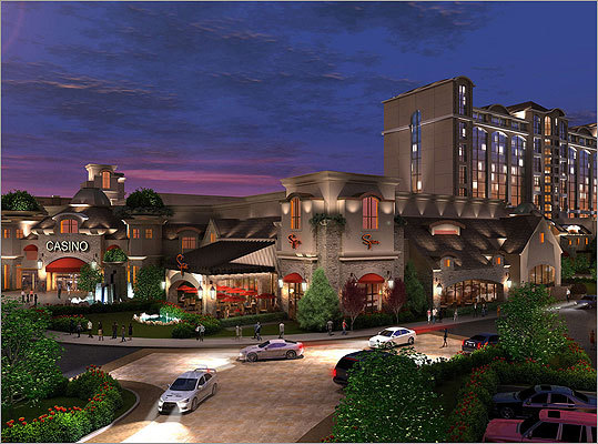 Along Interstate 495 in Milford, a $850 million casino, hotel, and retail complex has been proposed by developer David Nunes. The Crossroads Resort would include a 176,000-square-foot gambling floor, a 350-room hotel, and 60,000 square feet of retail shops and restaurant space. Read more: Neighbors preparing case against Milford casino plan.