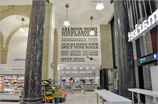 The massive emporiums feature sushi stations with chefs, juice markets with smoothies, hair salons by Phyto Universe, expanded natural and organic sections containing fresh fruits, vegetables, wraps, sandwiches, and salads made daily. Pictured: Dome of the fresh food section inside the flagship at 40 Wall St. in New York City, which Walgreens operates under its Duane Reade brand.