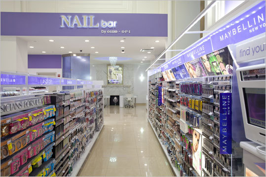 A Walgreens flagship is welcome news for the retail district, which has struggled for years since the stalled redevelopment project at the former Filene's building at One Franklin Street. Pictured: The entrance to the nail bar at the New York location.