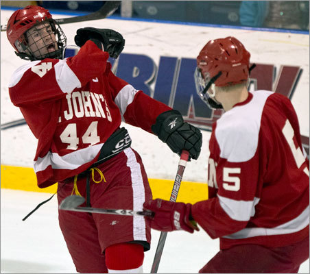 St. John's Prep Kevin Emmerling celebrated his first-period goal with teammate Bryan Nelson Monday.