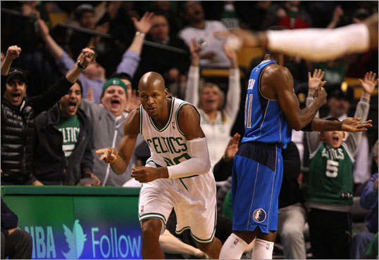Option: Trade Ray Allen Allen is the member of the Big Three who may have the longest shelf life. He'll be adding to his NBA record for 3-pointers for the next three to four years off someone's bench, and if he has his choice he may do it in Boston. Allen would be a fantastic piece on a contending Celtics team in the next few seasons, provided the Celtics can add young talent. His value on the trade market is based on his shooting ability and on his expiring contract.
