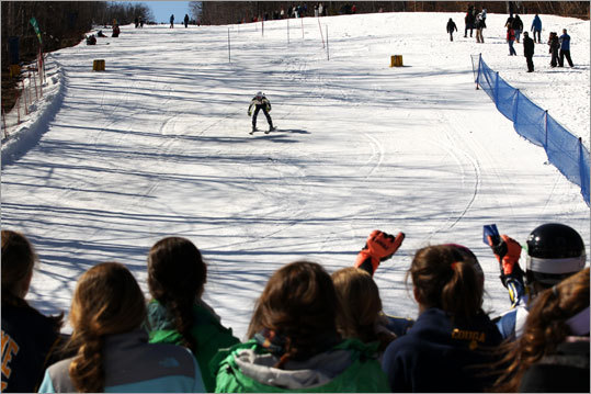 A skier makes his way to the finish line at Wachusett Mountain Ski Area Tuesday.