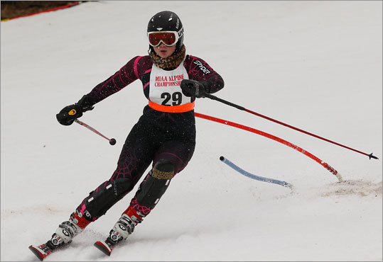 Marblehead's Sydney Andrews at the state alpine ski championship at Wachusett Mountain Ski Area Tuesday.