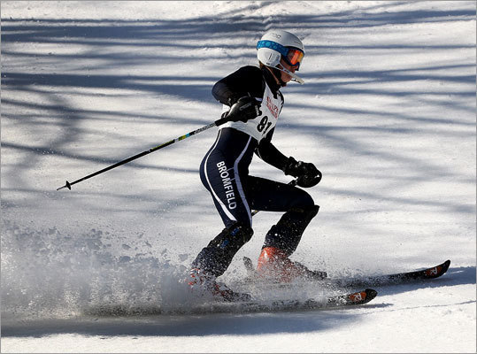 Lizzie Rooney from Bromfield at the state alpine ski championship.