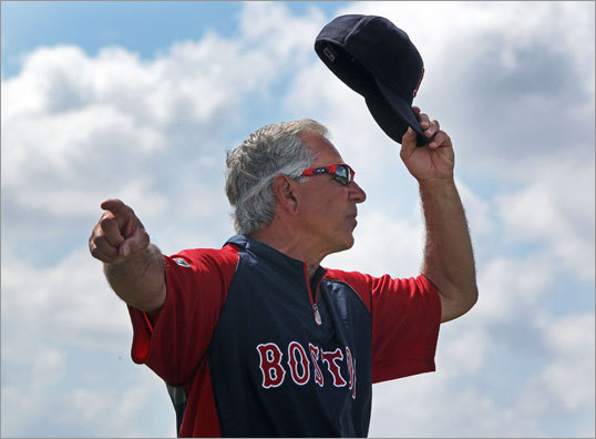 Red Sox manager Bobby Valentine pointed his players in the right direction during team drills on Monday.