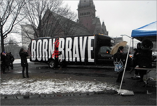 A 'Born to be brave' truck and a DJ playing music were outside the event.