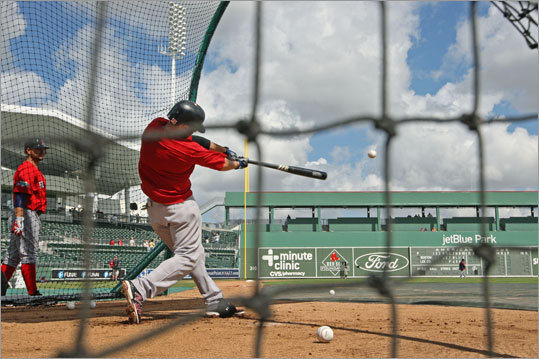 The Red Sox spent most of their Wednesday workout on the field at JetBlue. Second baseman Dustin Pedroia took aim at the Green Monster replica during batting practice.