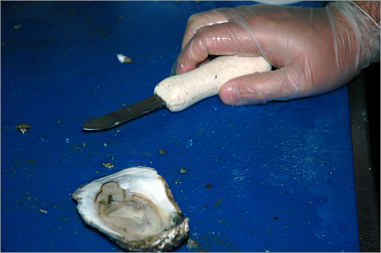 The oyster knife An oyster knife — short and stubby and capable of withstanding the tough shells with little bending — is inserted into the hinge of the shell.