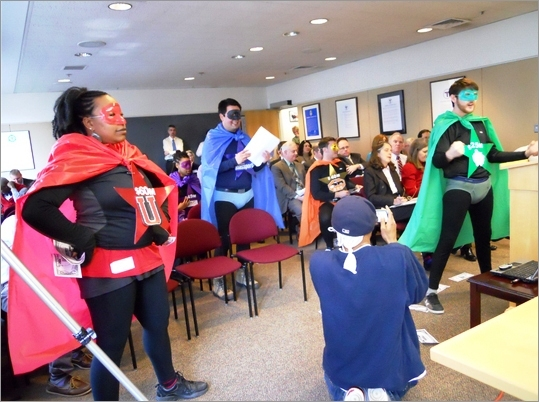 The super group was created not by a nuclear accident or super serum, but by an organization from Roxbury called the Alternatives for Community & Environment. According to the group, it aims to empower low-income communities to achieve environmental sustainability and social justice. The superheroes attended a Feb. 28 MBTA finance committee meeting.