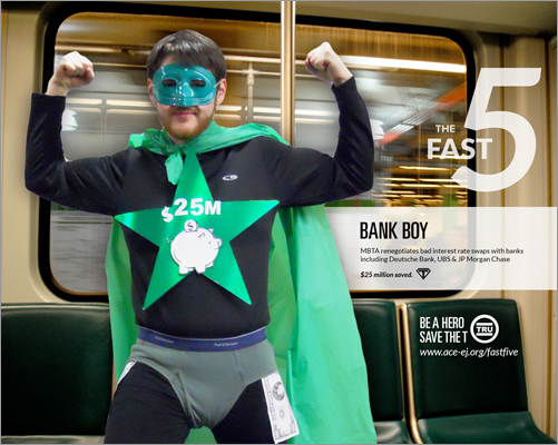 Each member of the team represents a different suggestion to the MBTA. At left, Bank Boy, a character that draws attention to the MBTA's bad interest rates with big banks. ACE said if these rates were renegotiated, the MBTA could save $25 million.