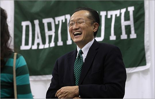 In this 2009 photo, Dartmouth College President Dr. Jim Yong Kim greeted every incoming freshman personally at the Leverone Field House, before the annual first year class dinner.