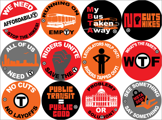 ACE emphasized that MBTA hikes and cuts are not necessary. The superheroes are a form of marketing illustrating solutions that will help ease the T's financial burdens. The organization urged residents to take a stand by calling state legislators, the MBTA ,and MassDOT boards and asking them to implement these changes. At left, a series of buttons made by ACE in conjunction with the T Riders Union as part of their Save the T campaign.