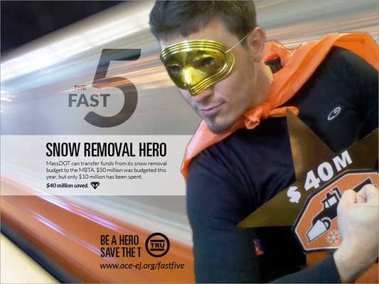 According to this superhero, Snow Removal Hero, $50 million was budgeted for snow removal this year. However, only $10 million has been spent. ACE urged MassDOT to transfer some of these funds to the MBTA, which would save $40 million this year.