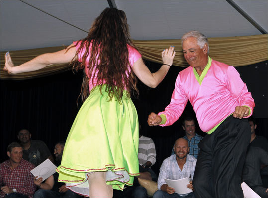 Red Sox manager Bobby Valentine continued to play showman, dancing with his partner before players Ryan Sweeney, Franklin Morales, Kelly Shoppach, Cody Ross, Ross Ohlendorf, Nick Punto and Justin Germano (from left). Valentine was a ballroom dancing champion in high school.