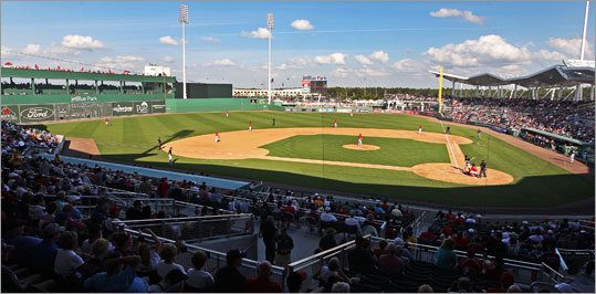 The Red Sox hosted Northeastern University in the first exhibition game ever held at JetBlue Park Saturday in front of a sellout crowd.