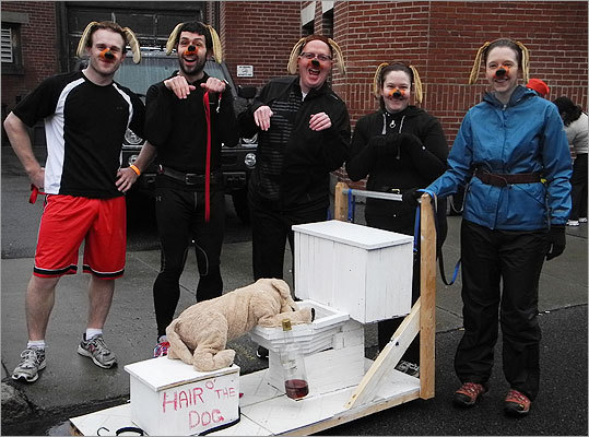 From left to right, the 'Hair o' the Dog' consisted of Mike Knight, of Attleboro; Steve Thibault, of Attleboro; Peter Scott, of Worcester; Brandy Murphy, of Leicester; and Kim Longueil, of Bolton.