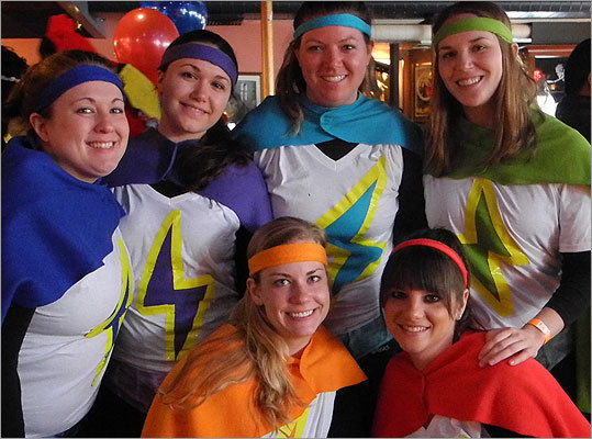 The idea of 'Team Lightning' from Brookline began as superheroes, but transformed into different colored lightning bolts. Clockwise from top left: Jess King, 26; Alyssa Mellor, 25; Megan Lachman, 26; Emily Roberts, 25; Marissa Vane, 29; and Emily Stefanak, 26.