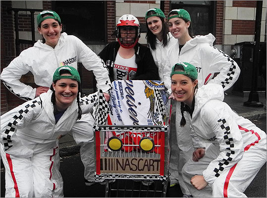 This 'Nascart' originated in Cambridge. Left to right: Casie Genetti, 22; Jen Iassogna, 22; Jess Perkins, 23; Jen Greenwood, 22; Cassie Bannos, 22; and Lindsay Herder, 22.