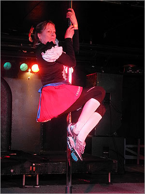 An 'Oktoberfest' team member participated in the pole dancing challenge at the Middle East Restaurant and Nightclub.