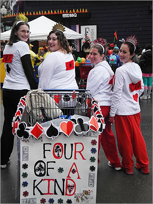 The 'Four of a Kind' queens said they 'threw this together in three days.' Left to right: Kara Dembowski, 28, of Somerville; Heather Teichman, 32, of Watertown; Beth Miller, 30, of Watertown; and Christine Anderson, 25, of Watertown.