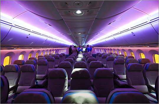 View of the economy class cabin in Boeing's 787 Dreamliner aircraft during a media preview at an Air Canada hangar at Pearson Toronto International Airport in Toronto on March 2.