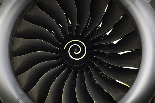 A close-up look at one of the turbines for the Boeing's 787 Dreamliner.