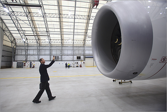 David Meerman Scott, an independent marketing strategist from Lexington, photographed one of the turbines of the Dreamliner.