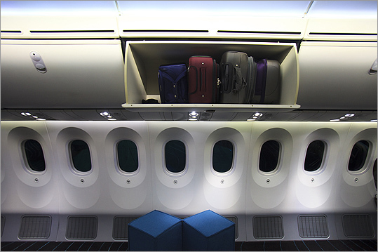 The 787 Dreamliner featured larger overhead bins, higher ceilings and specialized lighting.
