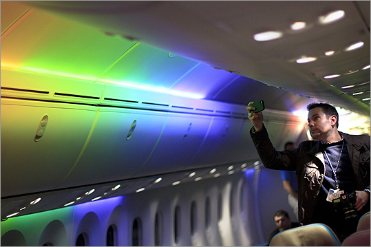 Officials learned that passengers were bored on flights. After battling traffic, long lines, and endless security procedures, they didn't feel welcome when they came aboard. Matt Tomlin, of Boston, a photographer for Fox News, photographed the rainbow lighting option on the Dreamliner.