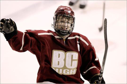 BC High's Tom Bessinger celebrated his third period goal against Hingham.