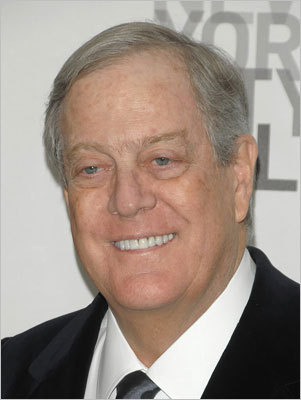 6. David Koch Estimated net worth: $34 billion Koch, 73, with his brother Charles, owns Kansas-based Koch Industries. he is tied with his brother for sixth place. Forbes profile