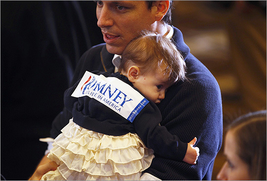 Super Tuesday primaries and caucuses sent voters to the polls in 10 states, including Massachusetts. Republican candidates need 1,144 delegates to receive the presidential nomination, with 437 delegates at stake. A young supporter started to fade at Republican candidate Mitt Romney's primary night party.