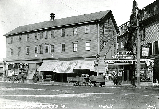 A village developed along the streets that lead from bridges crossing from Boston. It became an area known for its industry and different culture and classes. The west side of Central Square on Western Avenue is pictured on March 5, 1907.