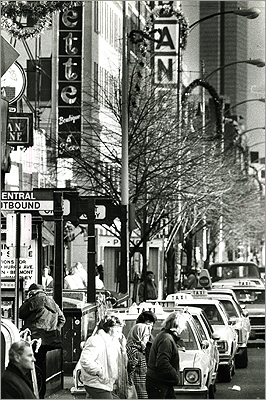 In the morning, Central Square is filled with business commuters and folks from the tech or coffee crowd. In the afternoon, the area is filled with shoppers, students, and foodies. Then, the bar and club-goers fill the night scene. On Sundays, the faithful visit Central Square's many churches. Central Square is pictured on November 29, 1986. Shoppers and traffic fought for right of way.