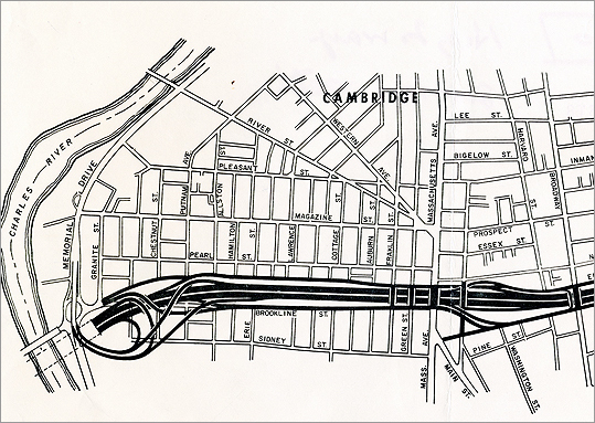 Central Square's growth was hindered by proposals in the late 1950s to run a highway through the neighborhood. Debates about an eight-lane 'Inner Belt' lasted through the 1970s. An overview of the plan from Feb. 26, 1968 is pictured.