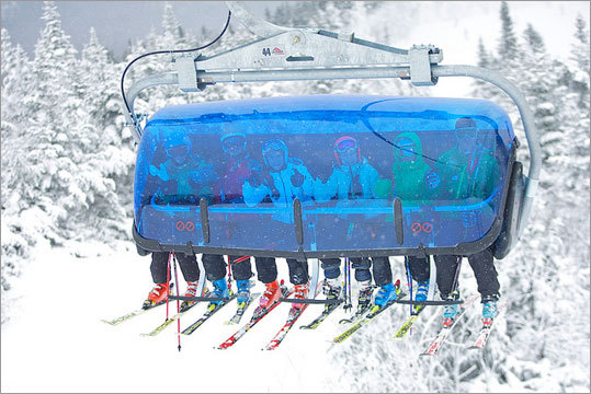 The Bluebird Express, Mount Snow Mount Snow's new six-person, high-speed chairlift isn't your run-of-the-mill detachable lift. The unique, blue 'bubble' provides skiers and riders shelter from the elements, similar to a gondola, but without having to remove one's skis or board. According to Mount Snow, it is the only lift of its kind in America, and travels to the summit in 7.4 minutes at a speed of 1,000 feet per minute.
