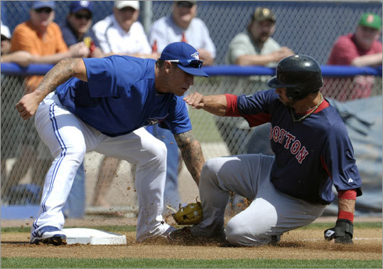 Red Sox shortstop Mike Aviles was tagged out at third base by Blue Jays third baseman Brett Lawrie during the first inning of their Grapefruit League game Wednesday in Dunedin, Fla. Aviles doubled, but was caught trying to advance on a ball to the pitcher. The Red Sox and Jays played to a 3-3 tie.